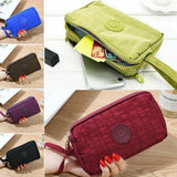 Fashion Womens Solid 3 Layer Canvas Phone Bag Short Wallet Three-Layer Zipper Coin Card Key Purse