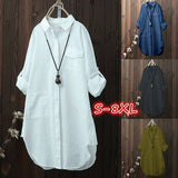 Casual Loose Women Shirts New Fashion Collar Plus Size Blouse Long Sleeve Buttons White Shirt Women Tops Streetwear