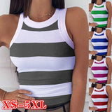 New's Design Summer Women Fashion O-neck Sleeveless Vest Stripes Printing Slim Fit Casual Cotton Tank Top Slim Fit Basic Tee Shirt Sports Yoga Top Plus Size XS-5XL