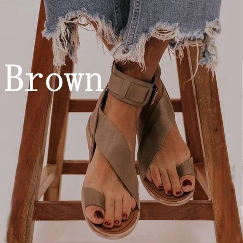 New Woman Sandals Flat Casual Summer Sandals Women's Fashion Rome Flip Flops Wedges Sandals Artificial Leather Plus Size