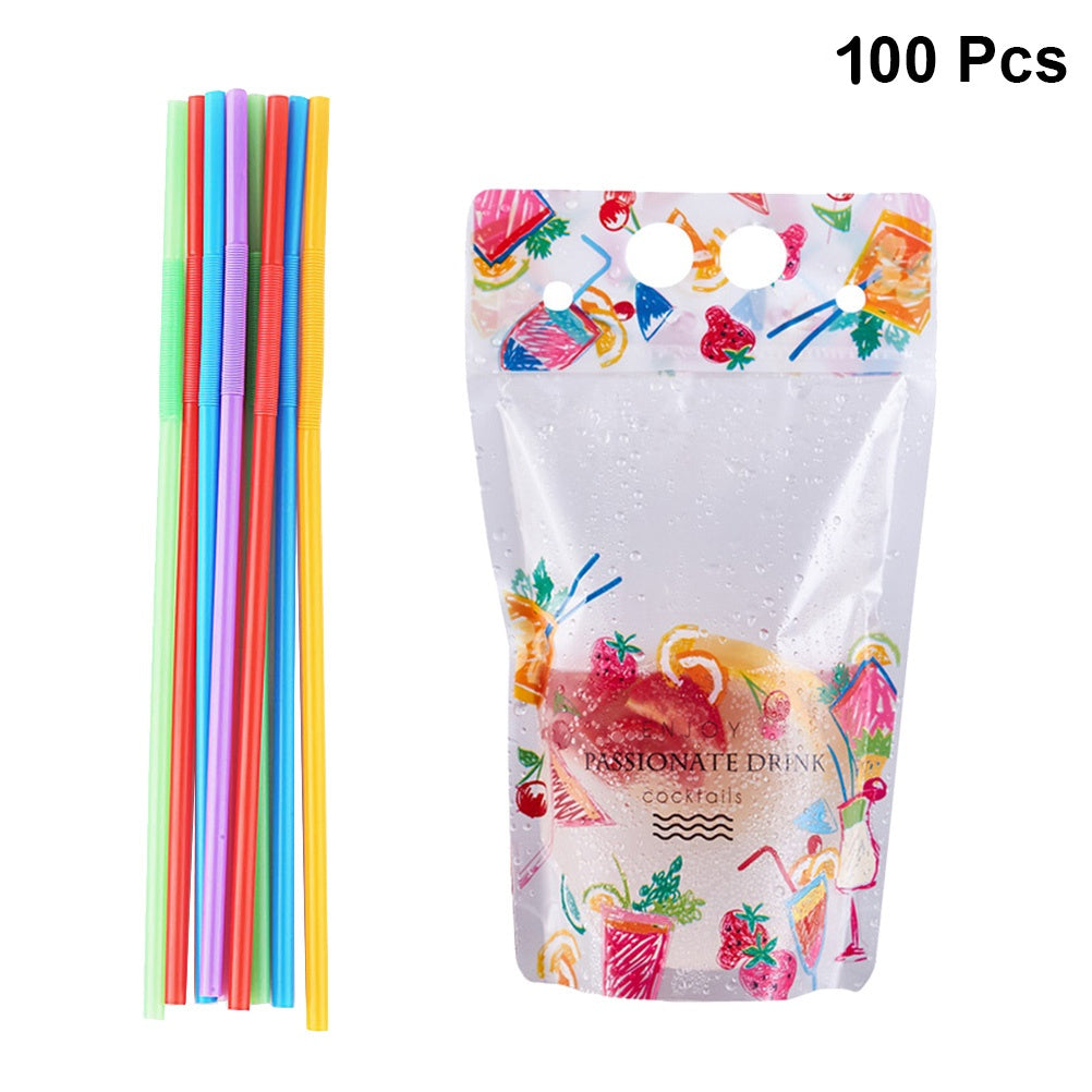 100/50/20Pcs Drink Bag Disposable Beverage Squeeze Pouches Portable Transparent Juice Pouch with Straw