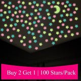 100PCS/1Set Kids Bedroom Beautiful Fluorescent Glow In The Dark Stars Wall Stickers Home Decor Fashion Bedroom