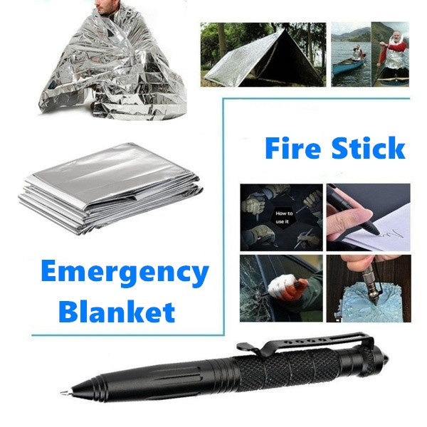 2020 New Survival Gear Kits 14 In 1- Outdoor Emergency SOS Survive Tool for Wilderness/Trip/Cars/Hiking/Camping Gear - Wire Saw, Emergency Blanket, Flashlight, Tactical Pen, Water Bottle Clip Ect