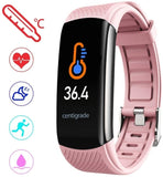 2020 New C6T Smart Bluetooth Bracelet Smart watch With Temperature Measure PPG Heart Rate Blood Pressure Sleep Exercise Watch Band