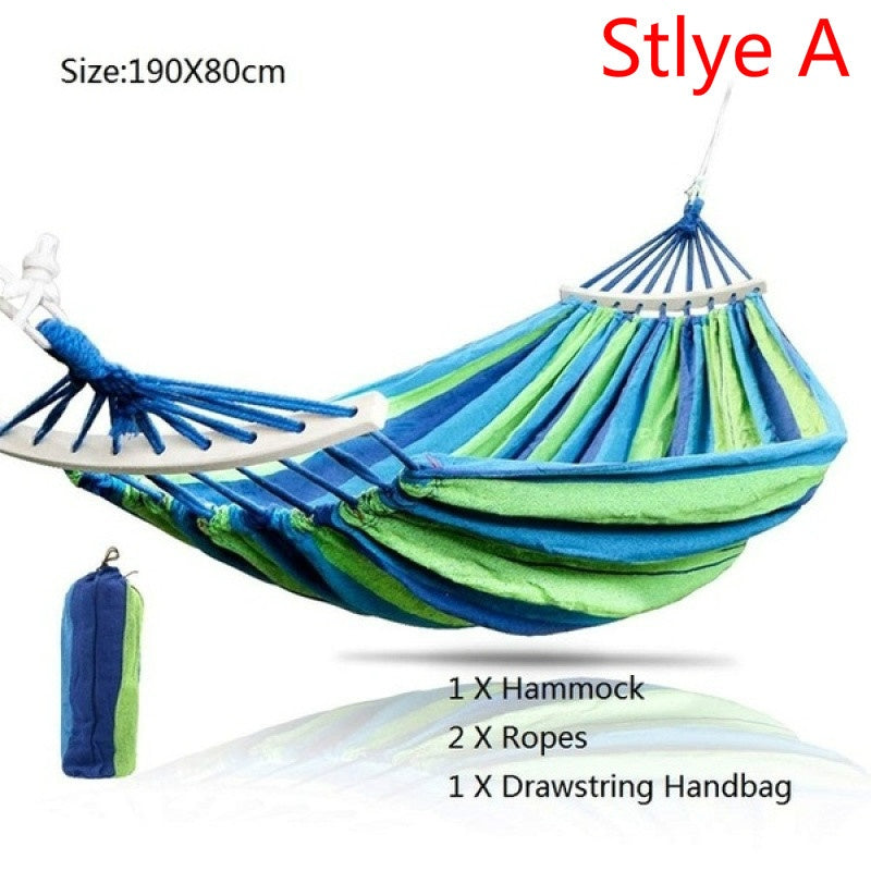 Portable Durable Woven Nylon Rainbow Travel Camping Hanging Hammock Home Bedroom Swing Sleep Bed Hanging Rope Chair Outdoor Garden Hammock