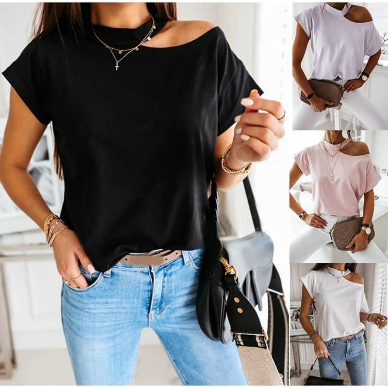 Women Off Shoulder Short Sleeve Solid Color T Shirts Halter Casual Tops