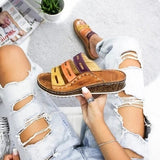 New Fashion Women Summer Slippers Low Heels Sandals Open Toe Outdoor Slippers Slides Gladiator Wedge Slippers