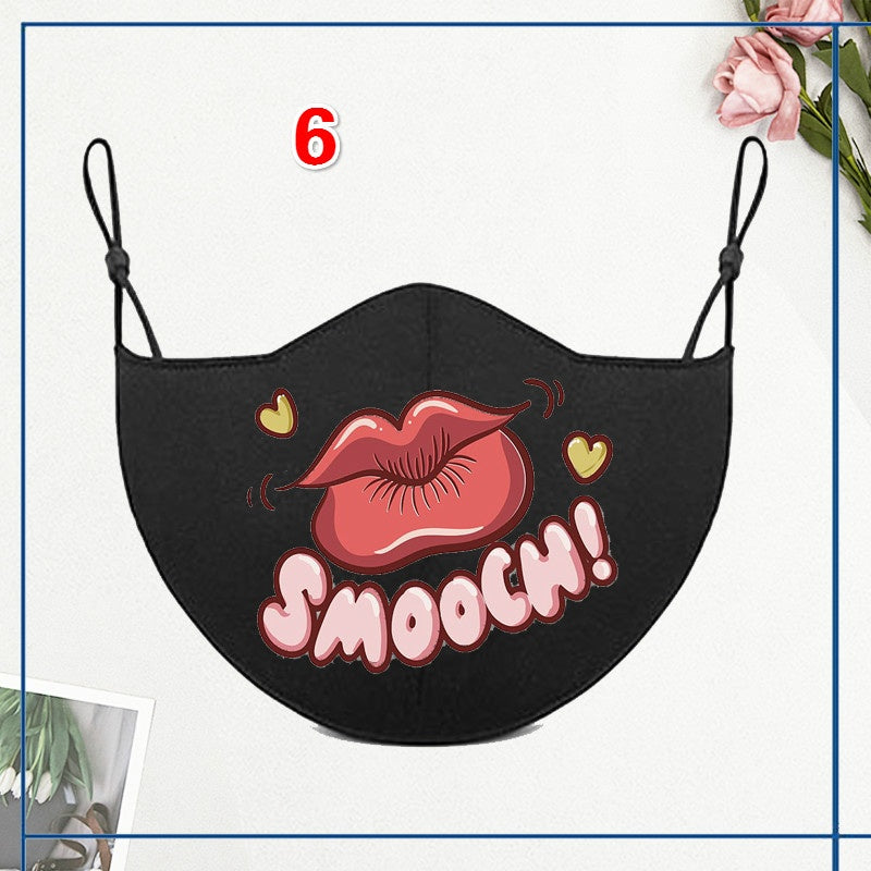 1Pcs Unisex Dust-Proof Cotton Face Masks Bandage Adjustable Windproof Black Mask 3D Sexy Red Lips Printed Half Face Mouth Muffle