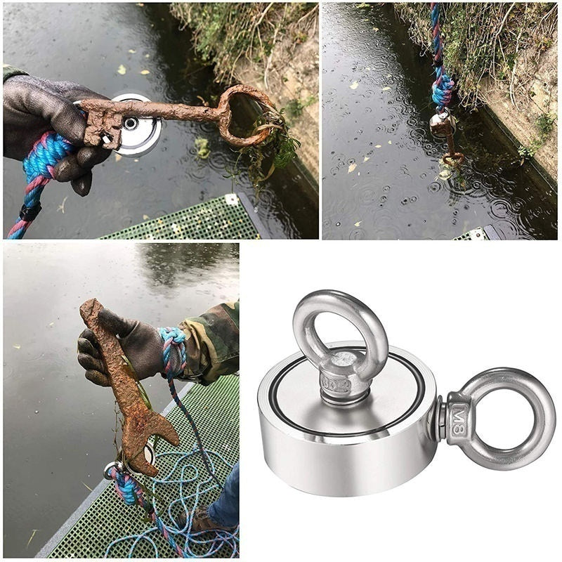 Newest Second-Generation Neodymium Fishing Magnets (Double-Sided Magnetic) Round Neodymium Magnet with Eyebolt, Combined 200/300/500KG Pulling Force - Magnet for River or Lake Fishing.