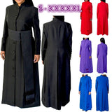 Women's Clergy Jacket Pastor Autumn Winter Long Sleeve Robe  Fashion Pleated Coat Ladies Church Attire Nun Costume with Belt