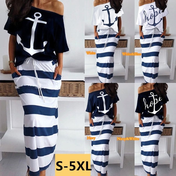 Summer Women Two Pieces Dress Casual Off Shoulder T-Shirt & Striped Maxi Skirt Sets