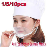 10/5/1Pcs/Set Health Care Tool Transparent Mask Food and Beverage Service Hotel Chef Anti Fog Plastic Smile Anti Fog Kitchen Sanitary Masks