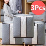 Folding Bamboo Charcoal Clothes Storage Bag Blanket Closet Organizer Home 4 Color