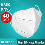 40PCS KN95 Mask Reusable Dust Mask Anti-pollution Mask PM2.5 Activated Carbon Filter Face Mask