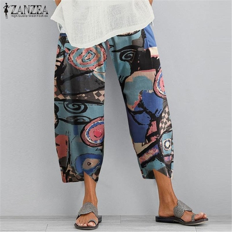 2020 new ultra-thin solid color cotton and linen large size wide-leg pants women's simple loose nine-point pants casual pants S-5XL