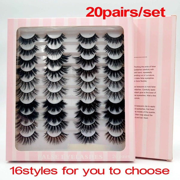 10/20 Pairs 3D Mink Lashes Natural False Eyelashes Dramatic Volume Fake Lashes Makeup Eyelash Extension Makeup Eyelashes Set