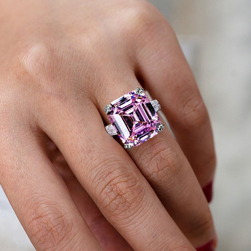 Luxury 100% 925 Sterling Silver Created Pink White Sapphire Square Cut Diamond Wedding Engagement Cocktail Women Moissanite Rings Fine Jewelry
