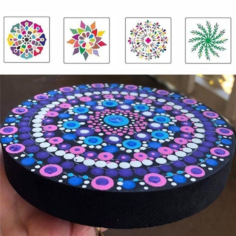 32/36/38Pcs DIY Mandala Dotting Painting Tools Mandala Stencil Painting Board Acrylic Tools Set for Stone Flower Painting Art Decor