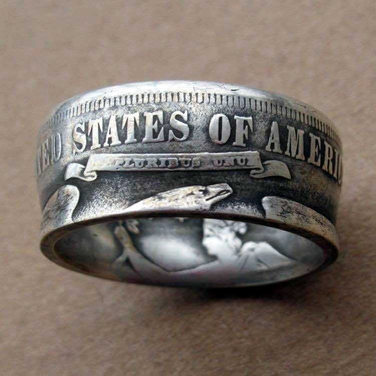 Newest 90% Silver and 18K Gold Plating Handmade Coin Rings 1875 1893 1945 Vintage Morgan Silver Carved 'the United State of American' Ring Souvenir Coin Rings Columbian Half Dollar Best Collecting Jewelry Size 5-13