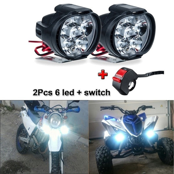 2Pcs 6/9 LED Motorcycle Light Headlight Assembly 10W +Switch Universal Scooter Fog Spotlight 6000K White Motorcycle DRL Lamp