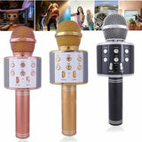 2021 Hot New! LED Colorful Lights  WS858 Wireless USB  Microphone Professional Condenser Karaoke Mic Bluetooth Stand Radio Microphone Recording Studio