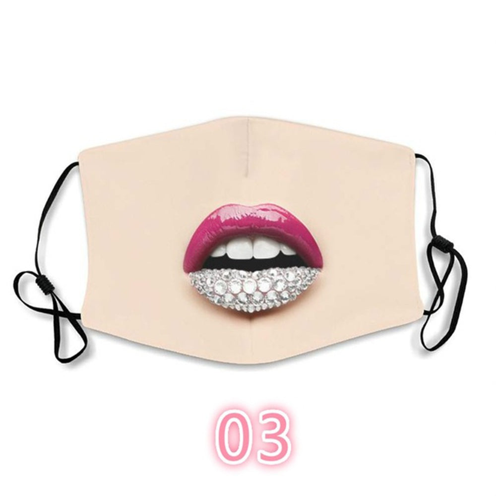 1Pcs Women Reusable Face Mask Red Lips Dust Mask Washable Travel Mask Gift Face Cover