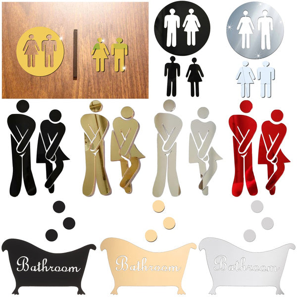 DIY WC Decoration Washroom Poster Removable 3D Wall Stickers Toilet Entrance Sign Woman & Man Mirror Surface Decal