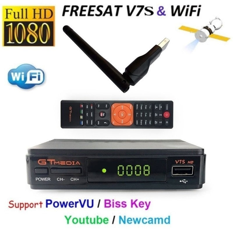 NEW V7S Freesat Satellite Receiver WIFI Support CCcam PowerVu DRE &Biss key Full HD 1080P DVB-S2 Antena WIFI