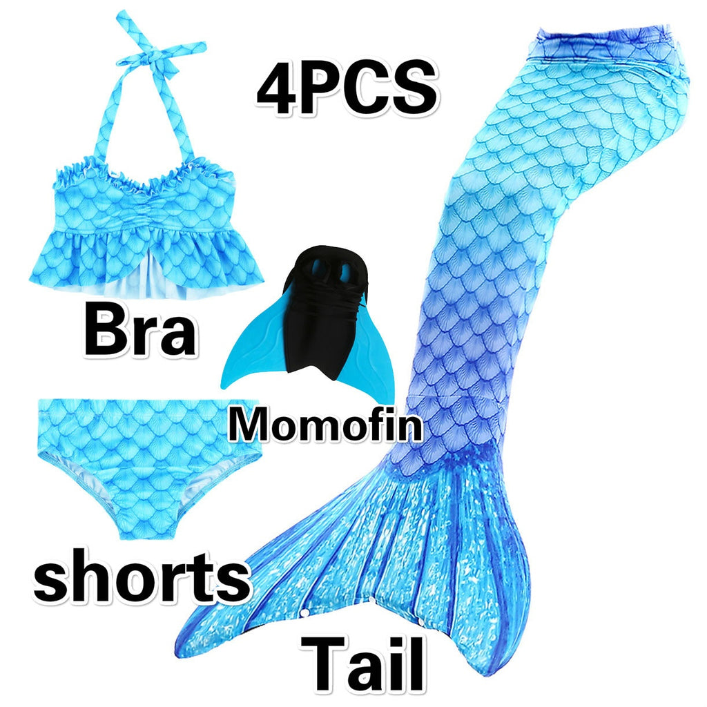 NEW Arrival!Fancy Mermaid tails with/No Fins Monofin Flipper mermaid swimming tails for Kids Girls Summer Beach Wear Swimsuits 6PCS/3PCS/1PCS