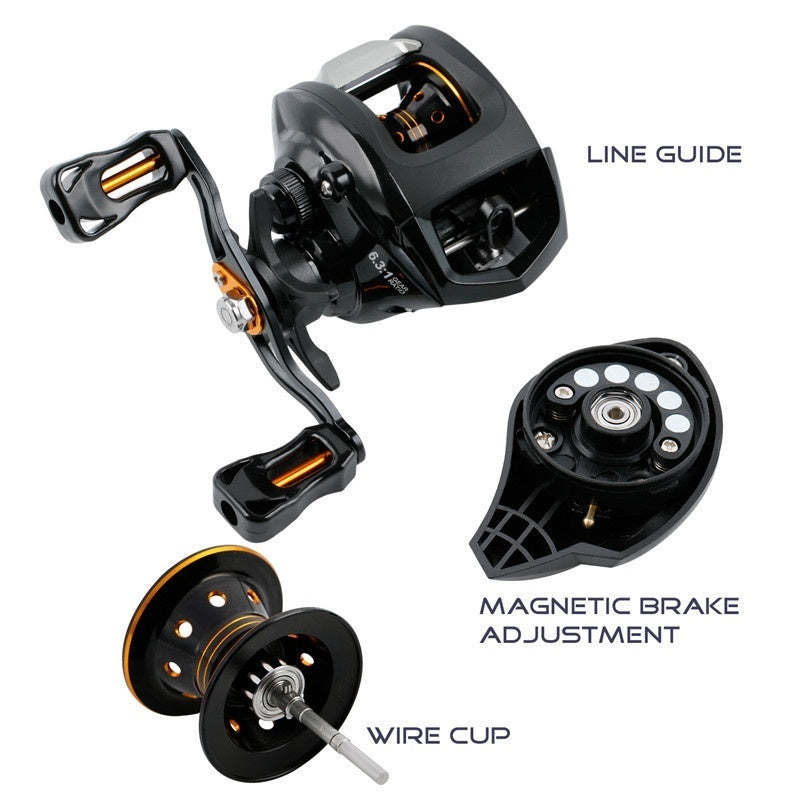 Sougayilang 13 BB Metal Baitcasting Reel 6.3:1 Gear Ratio Left/right Handle 190g Ultra Light with 2 Colors for Freshwater Saltwater Fishing