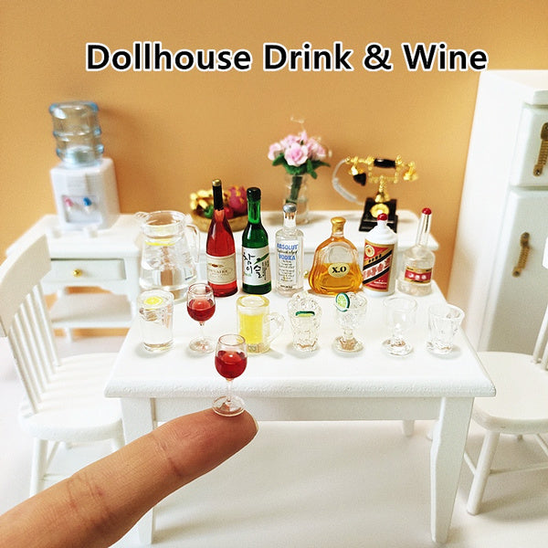 3Pcs Dollhouse Miniatures Mini Red Wine/White Wine/Beer & Glasses Water/Drink/Milk Bottle 1:12 Scale Doll House Accessories Resin Kids Toy For Barbie