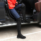 Women Fashion Low-Heeled Long Boots Over The Knee Boot Lace Up Thigh High Boots Flats Shoes