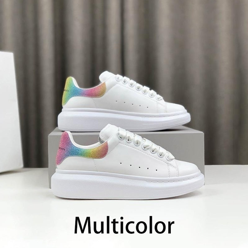 McQueen Classic White Leather Platform Sneakers Womens Mens  Flat Casual Party Wedding Shoes Suede Sports Sneaker Size 35-45
