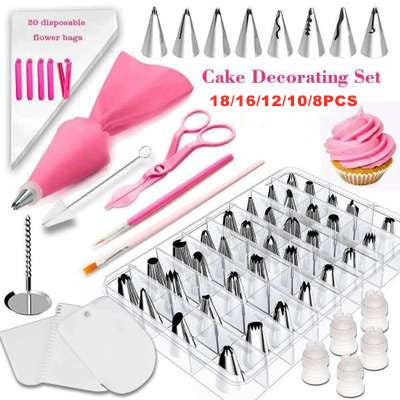 DIY ice tube cream pastry bag stainless steel nozzle pastry head converter squeeze cake decoration baking tool cake decorating mouth set