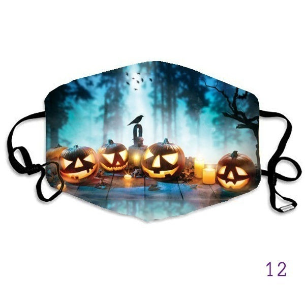 Halloween Adjustable Unisex Cotton Mask Adult Washable Adjustable Mask Skull Mask Halloween Pumpkin Mask Witch Mouth Face Mask