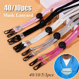 40/10/5/3Pcs Mask Lanyard Mask Holder Neck Strap Clips Adjustable Portable Convenient Safety Mask Rest&Ear Holder Rope Hat Cap Eye Glasses Chains With Stretch Cord For Kids And Adult