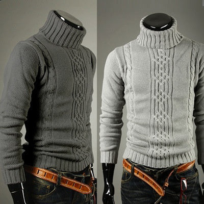 Winter Warm Irregular Men's Turtleneck Sweater Thick Thick Sweater Fashion Men's Clothing