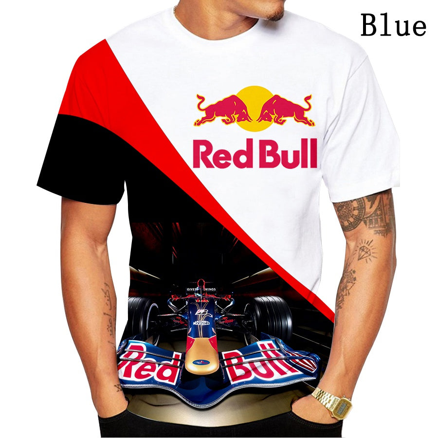 New Fashion 3D Red Bull Racing Graphic Printed T-shirt Cool Men Motorcycles Team Sports Tee Tops