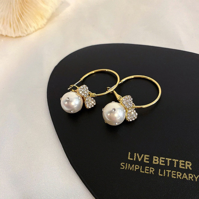 Gorgeous White Pearl 18K Yellow Gold Plated Drop Earrings For Women