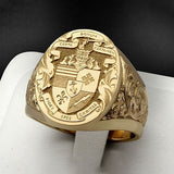 4 Styles The Latest Popular Men's 24K Pure Gold High-end Aristocratic Handmade Jewelry Classic Godfather Virgin Mary Crown Lion Shield Gentleman Print Tail Ring Groom Engagement Wedding Banquet Ring Birthday Gift Size 6-13