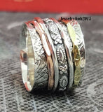 Luxury Solid 925 Sterling Silver Handmade Extra Wide Meditation Statement Ring Men Women Fine Jewelry Ring Party Band Ring