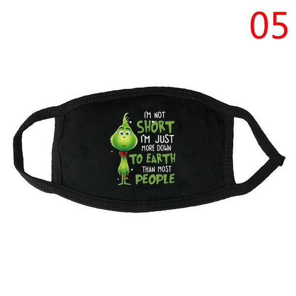 2020 New Grinch Cotton Mask Christmas Face Masks Unisex Dustproof Letter Printed Green Furry Mask