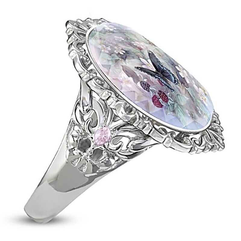 Elegant Beautiful Noble Women Fashion Exquisite Diamond Jewelry Classic 925 Sterling Silver Diamond Ring Color Topaz Opal Ring Oval Cut Enamel Hollow Flower Butterfly Ring Noble Temperament Ladies Engagement Wedding Ring Anniversary Gift Birthday Party Pa