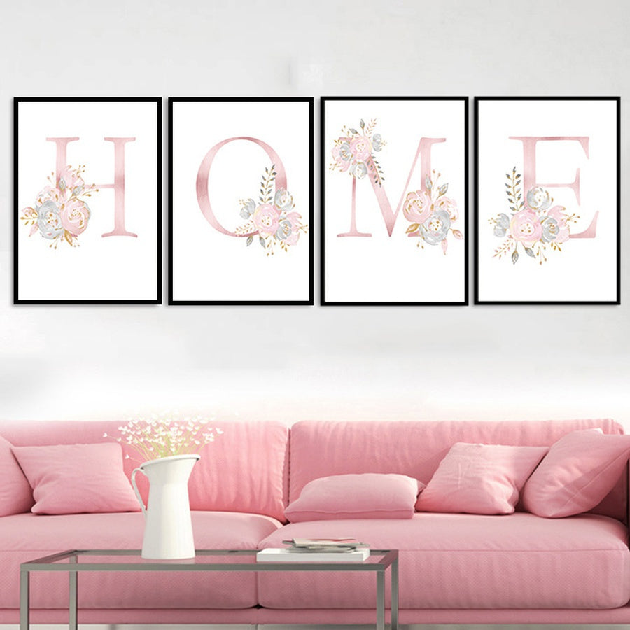 DIY Letters with Flowers Canvas Art Print Nursery Wall Pictures Wall Poster Wall Paintings Wall Art for Kids Bedroom Baby  Playroom Home Decoration Frame Not Include