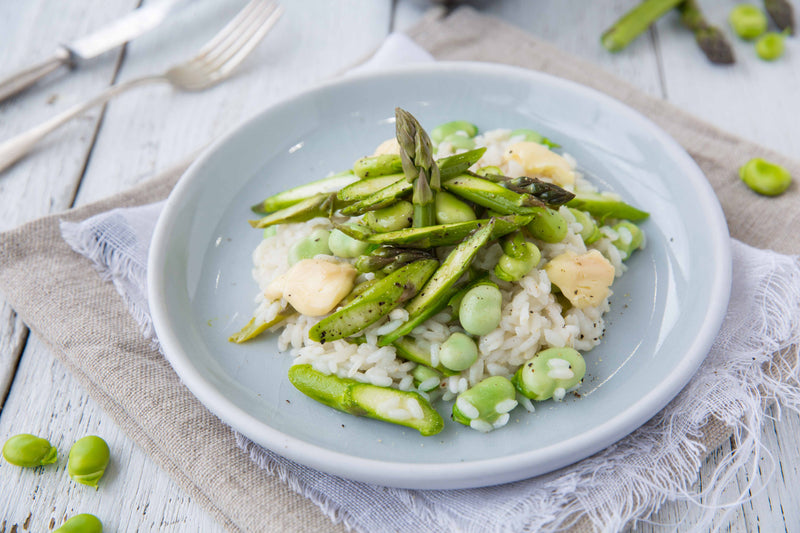 Asparagus, Broad Bean and Lavato Cheese Risotto