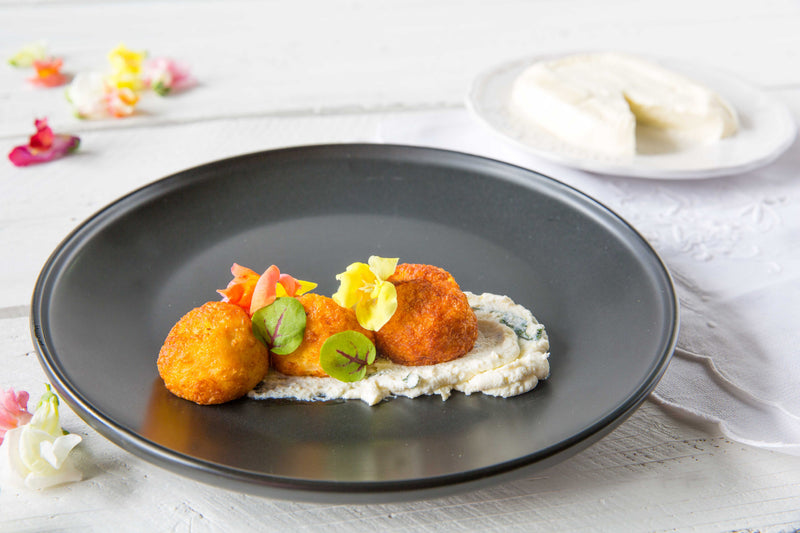 Squaquerone and Pumpkin Polpette, Lemon Ricotta Mayo