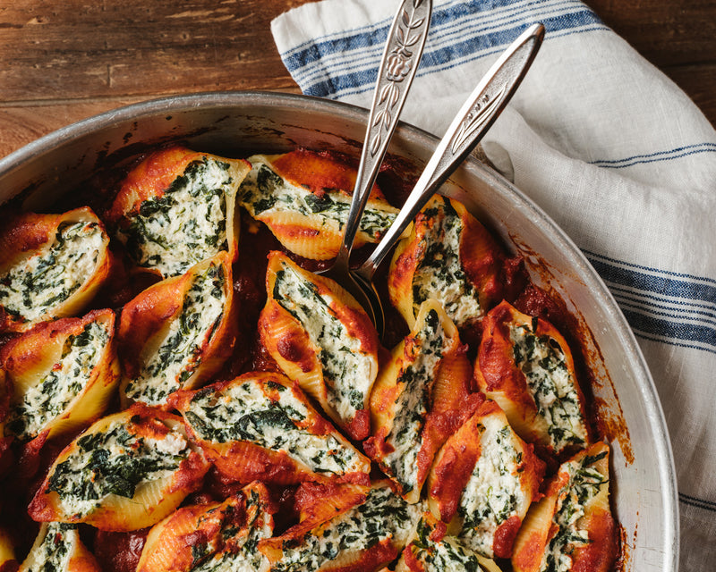 Baked Conchiglioni with Spinach and Ricotta