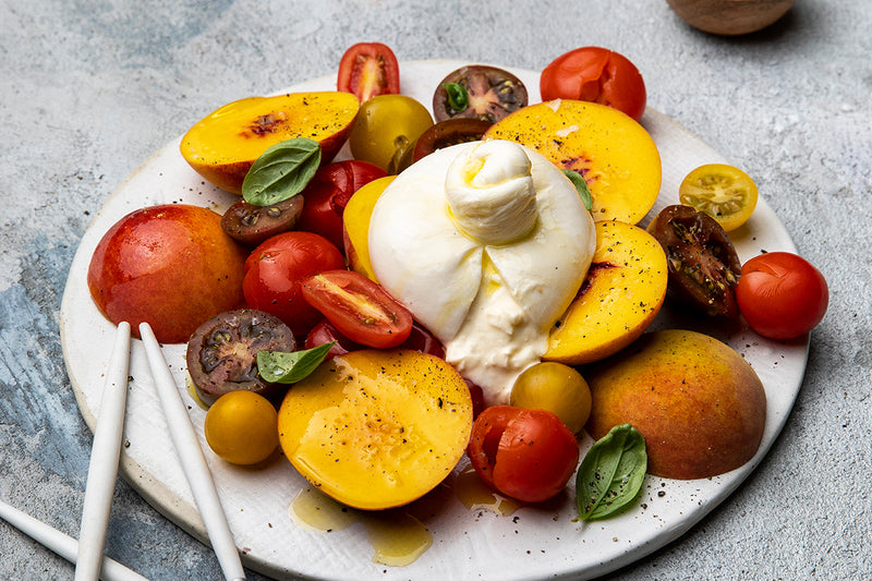 Burrata Salad with Nectarines and Tomatoes
