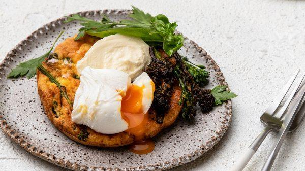 Broccolini Fritters with Burrata & Poached Egg - That's Amore Cheese