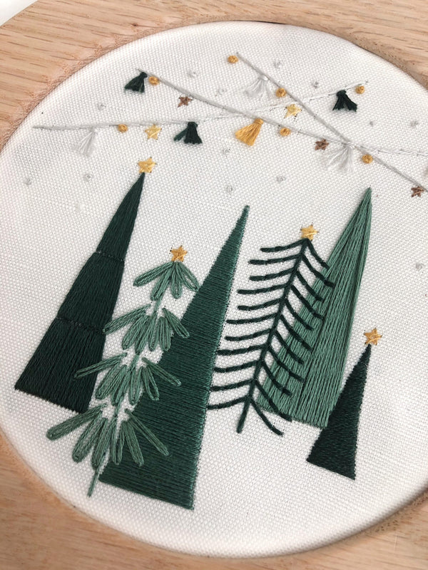 Tree Farm Embroidery Pattern Pre-Printed Fabric